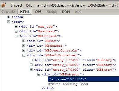 BLOG entry HTML source (under Firebug)